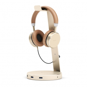 SATECHI ALUMINUM USB 3.0 HEADPHONE STAND | Gold