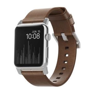 NOMAD Strap Modern Leather Brown 42mm / 44mm Silver