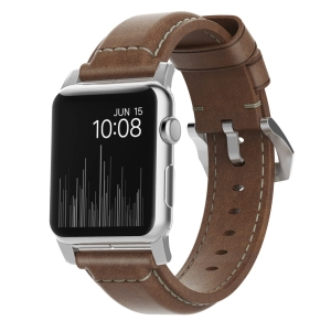 NOMAD Strap Traditional Leather Brown 42mm / 44mm Connector Silver