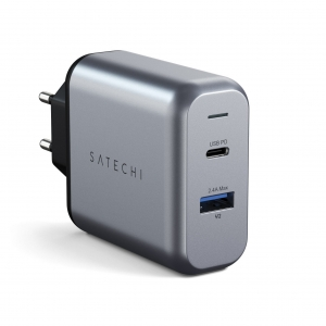 SATECHI 30W Dual-Port Wall Charger Space Gray