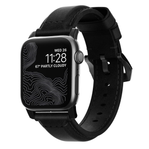 NOMAD Strap Traditional Leather Black 42mm / 44mm Connector Black | Apple Watch series 1-5