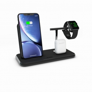 ZENS Stand + Dock + Watch Fast Wireless Charger Black