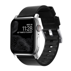 NOMAD Strap Modern Active Waterproof Leather Black 42mm / 44mm Connector Silver