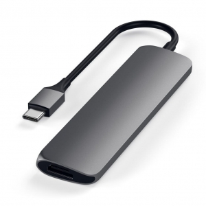 SATECHI Slim Aluminum Type-C Multi-Port Adapter V2 Space Gray | MacBook
