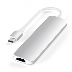 SATECHI Slim Aluminum Type-C Multi-Port Adapter V2 Silver | MacBook