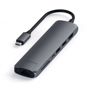 SATECHI Slim Multi-port with Ethernet Adapter Space Gray | MacBook