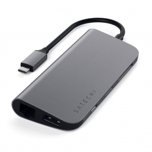 SATECHI Aluminum Type-C Multimedia Adapter Space Gray | MacBook M1