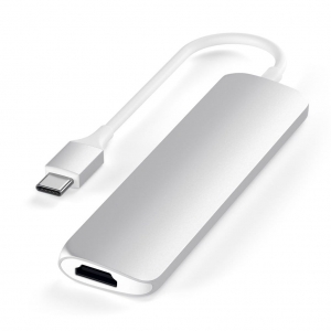 SATECHI Aluminum Type-C Slim Multi-Port Adapter 4K Silver | MacBook