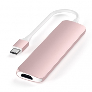 SATECHI Aluminum Type-C Slim Multi-Port Adapter 4K Rose Gold | MacBook