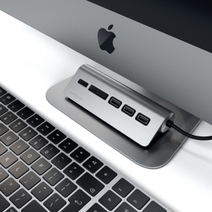 SATECHI USB-C ALUMINUM USB 3.0 HUB & CARD READER Space Gray | iMac