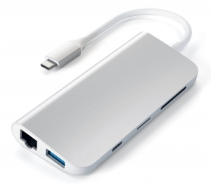 SATECHI Aluminum Type-C Multimedia Adapter Silver | MacBook
