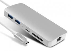 UNITEK HUB USB-C ETHERNET HDMI 4K USB SD MICRO SD Silver | MacBook
